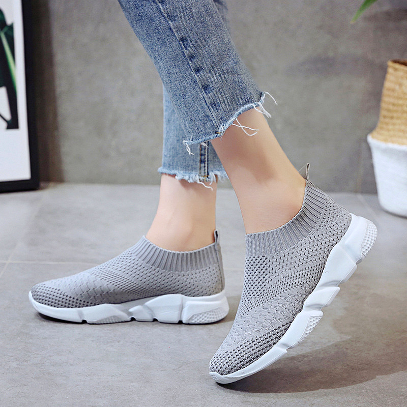 HTB1nbMVaorrK1RkSne1q6ArVVXag Rimocy plus size breathable air mesh sneakers women 2019 spring summer slip on platform knitting flats soft walking shoes woman