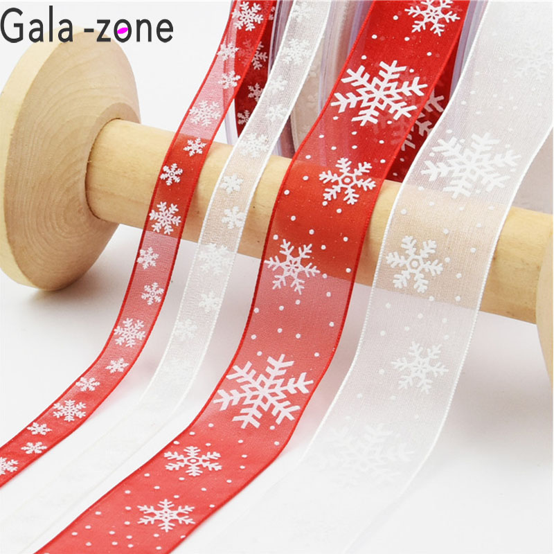 Home & Garden Gala-zone10mm 25mm Red White Organza Ribbon Snowflake Christmas Ribbons Diy Packing Ribbons New Year Gift Wrapping Decoration Cheapest Price From Our Site