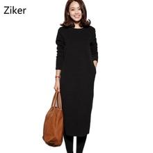 Velvet Thick Warm Women's Dresses Female O-Neck Long Sleeve Autumn And Winter Dress Mid-Calf Plus Size Causal Dress M-4XL