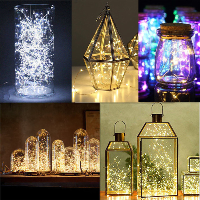 1M/2M/3M/5M LED Silver Wire Fairy Garland Lamp LED String Lights Christmas Wedding Home Party Decoration Battery Operated Lamp