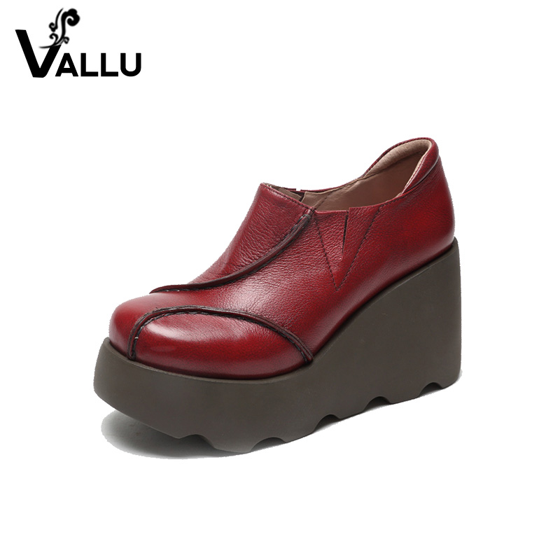 Low Cut Women's Shoes Genuine Leather Slip-on Women Pumps Round Toe Platform High Heels Vintage Women Wedge Shoes women s casual genuine leather shoes sheepskin block low heels pumps round adornment brown black low heels shoes for women