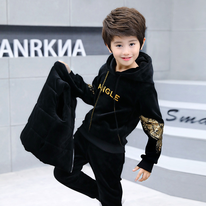 все цены на 3-14 Years Children Boy and Girl Autumn Winter Clothing Set Velvet Solid 2018 Fashion Hoodie and Pants Clothes Set Color Black