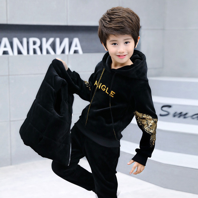 3-14 Years Children Boy and Girl Autumn Winter Clothing Set Velvet Solid 2018 Fashion Hoodie and Pants Clothes Set Color Black