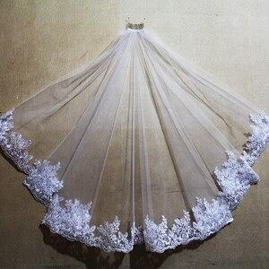 Image 3 - Voile de mariage court, bord en dentelle, une couche, avec peigne, élégant, accessoire de mariée blanc ivoire, nouveau