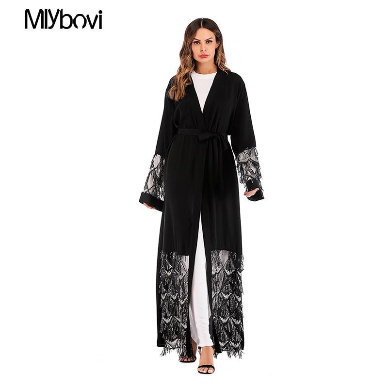 Printemps Robe Longues Broderie Musulman Caftan Patchwork Musulmane Noir Abayas Femmes Islamique Robes 2019 Abaya Manches À Dentelle WHDE92I