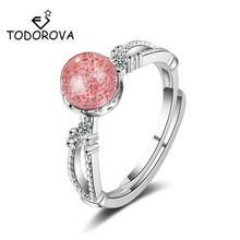 Todorova Korean Fashion Pink Strawberry Crystal Moonstone Rings for Women Adjustable Wedding Jewelry Gifts bague