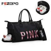 Outdoor Women Pink Sport Bag Training Gym Bag Women's Sports Handbags Fitness Bag Travel Multi function Bag with Shoes Storage