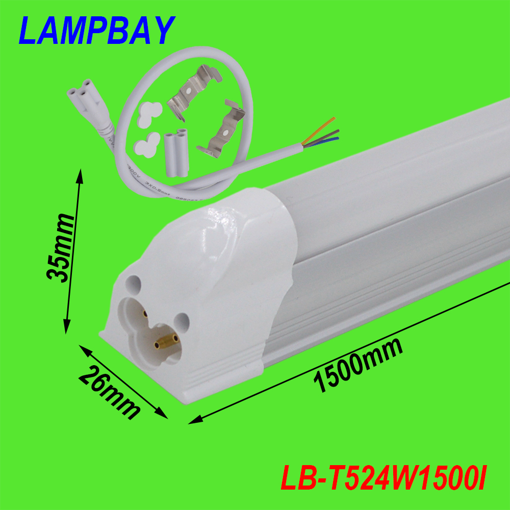(4 Pack) Free Shipping T5 Integrated LED Tube Lights 5FT. 150cm 24W lamp Fixture with accessory Milky/Clear Cover 85-277V 4 pack free shipping t5 integrated led tube 4ft 20w milky transparent cover surface mounted bulb comes with accessory 85 277v
