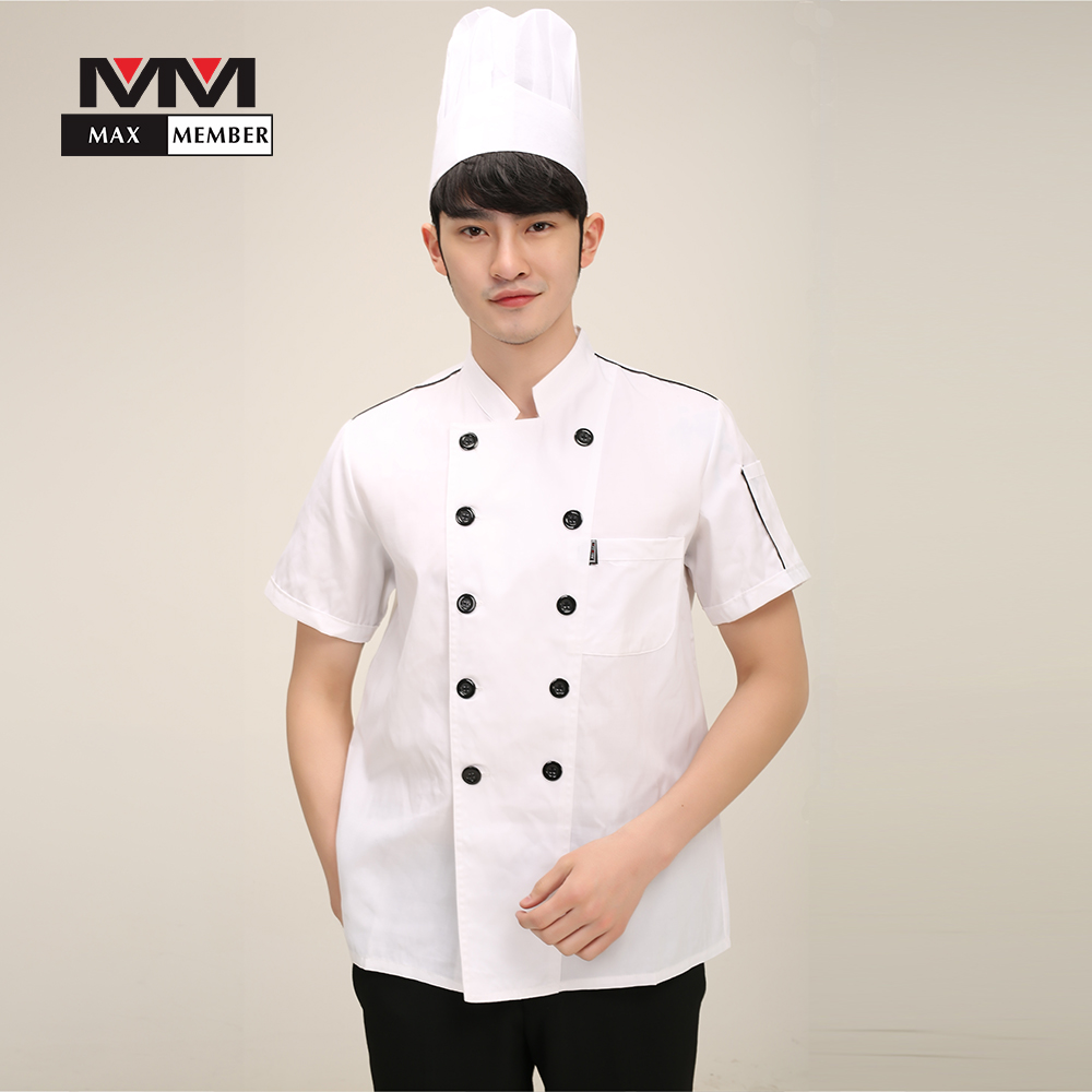 M-3XL Solid Men Cooking Work Uniforms Food Service Kitchen Head Chef Clothes Short Sleeve Jacket T-shirt Tops