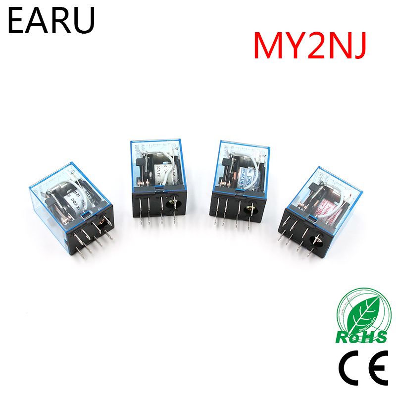 MY2P HH52P MY2NJ Relay Coil General DPDT Micro Mini Electromagnetic Relay Switch AC 110V 220V DC 12V 24V Power Relay Switch LED 1set my4nj dc 12v coil 4no 4nc green led indicator power relay din rail 14 pin base mini relay