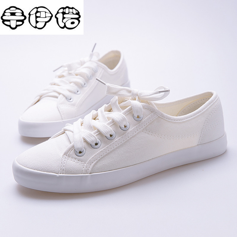 Hot Sale Fashion Women White Canvas Shoes Concise Low Top Casual Flat Student Shoes Lace Up Solid Canvas Women Shoes 35-40 men casual shoes 2017 hot sale canvas shoes white gray flats concise street fashion hook