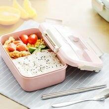 Портативная коробка для микроволновой печи, бэнто, пшеничная соломинка, детский Ланч-бокс, 3 сетки, детская коробка для бэнто, контейнер для хранения еды в микроволновой печи, 40