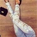 2015 del nuevo cordón spliced hollow out casual denim jeans lápiz mujeres pantalones de larga duración flaco mediados de cintura más el tamaño feminino