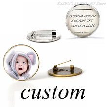 1 PCS Personality Fashion Brooches Glass DIY Silver Brooch Pin Your Friends Baby Mom Lover Custom Photo Birthday Gift for Family