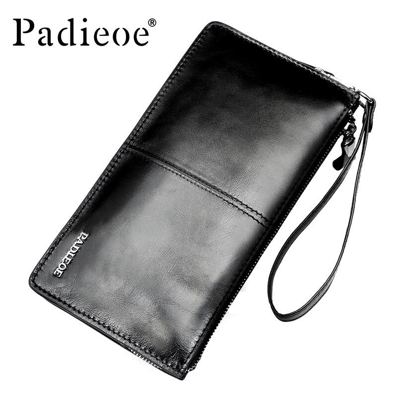 Padieoe Men's Clutches Wallet Top Brand Male HandBags Fashion Genuine Leather Long Wallet Luxury Zipper Card Holder Coins Purse