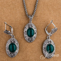 JENIA Fashion Marcasite Indian Jewelry Set 18K White Gold Plated Green Opal Drop Earrings And Necklace
