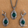 JENIA Fashion Marcasite Indian Jewelry Set White Gold Plated Green Opal Drop Earrings and Necklace Set Jewelry S152