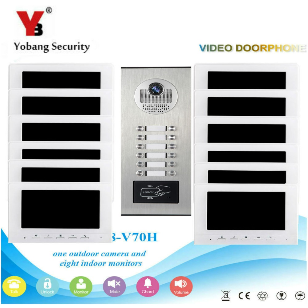 Yobang Security Video Intercom 7 Inch Monitor Video Door Phone Doorbell Visual Speakephone Unlock Intercom System RFID IR Camera