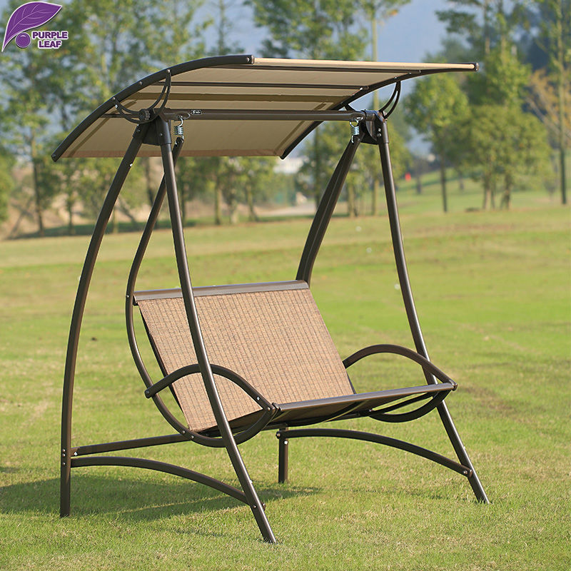 PURPLE LEAF Outdoor Furniture Garden Swing Patio Rocking Rattan Chair UV  Protection Awning Adjustable Height(