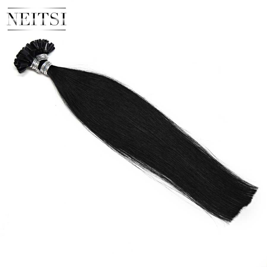 """Neitsi Ön Gümrük Tırnak U İpucu Makinesi Yapımı Remy Insan Füzyon saç ekleme Düz Keratin Kapsül 12 """"0.5g/s"""