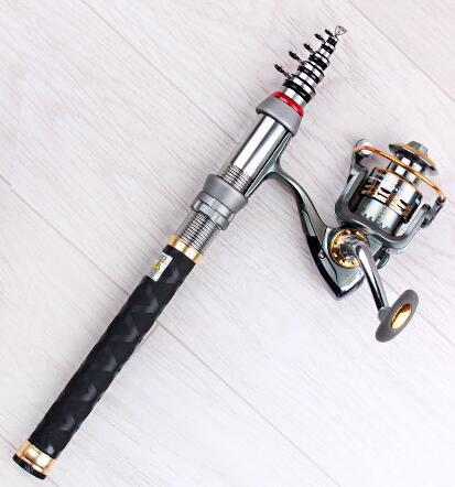 Caña de pescar giratoria ultra corta Caña de pescar telescópica - Pescando