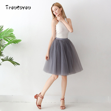 6 Layers 65cm Long Tutu Tulle Skirt Pleated Skirts Womens Dance Girl High Waist Skirt Cute School Skirt 2017 faldas saias jupe