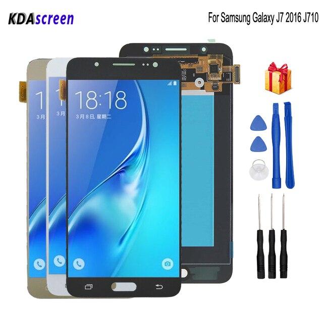 Originale Per SAMSUNG Galaxy J7 2016 J710 Display LCD Touch Screen Per SAMSUNG J710 Display LCD J710F AMOLED Display Del Telefono parti