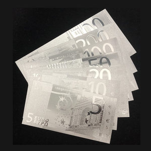 Wishonor 7pcs/lot Euro Sliver Banknotes 5 10 20 50 100 200 500 Euro Banknote in Silver Plated Money For Gifts