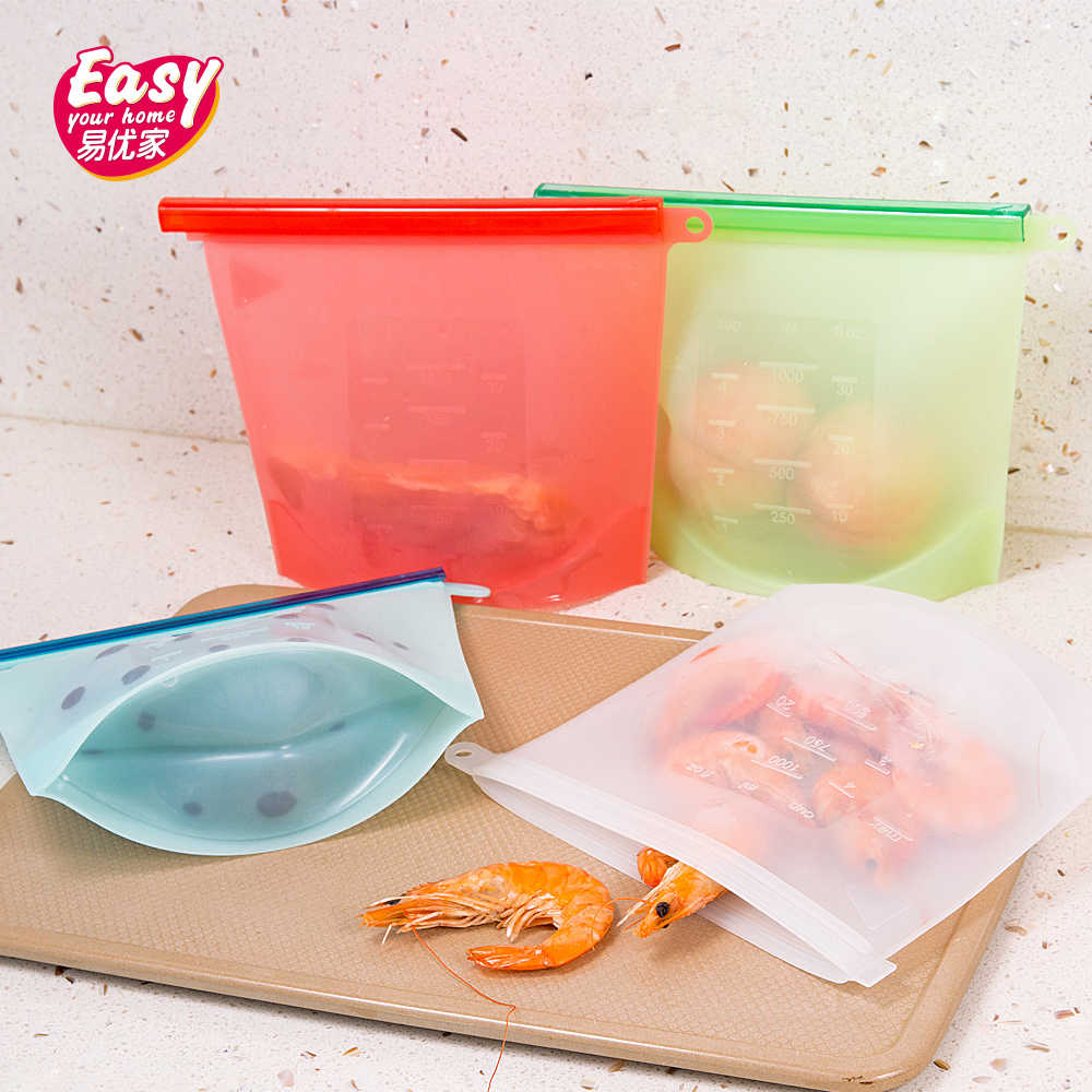 4Pcs 1000ml Reusable Silicone Food Storage Bags Vacuum Container Kitchen Food Sealing Bag Refrigerator Fresh Silicone Food Bags