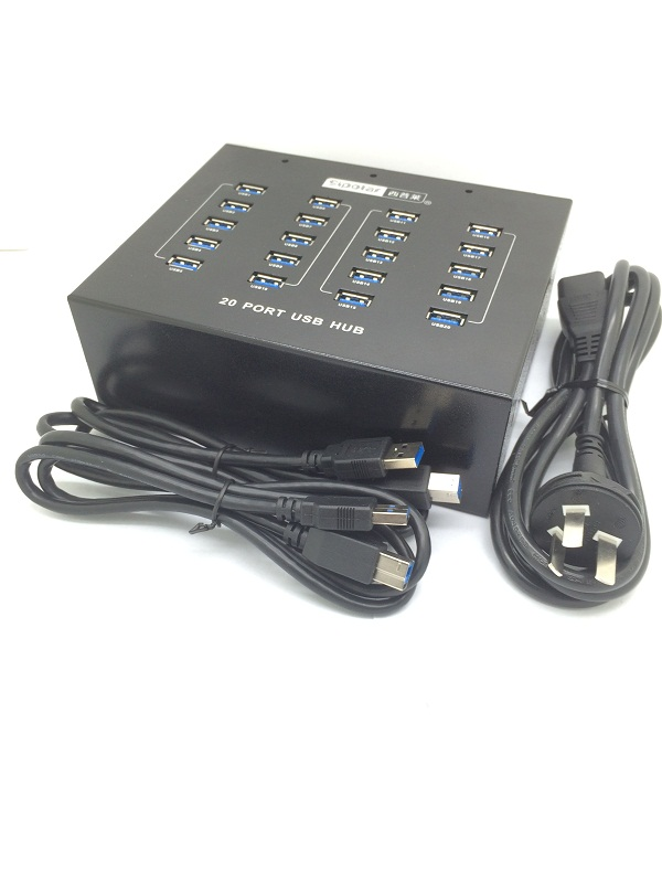 20-Port USB 3.0 Hub with 20 Charge and Refresh Ports