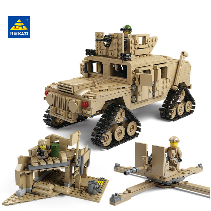 KAZI DIY Military Assembled Block Tank Model Toy Educational Toys Building Blocks Bricks Toys Kids Gifts kazi military building blocks diy 16 in 1 world war weapons german tank airplane army bricks toys sets educational toy for kids
