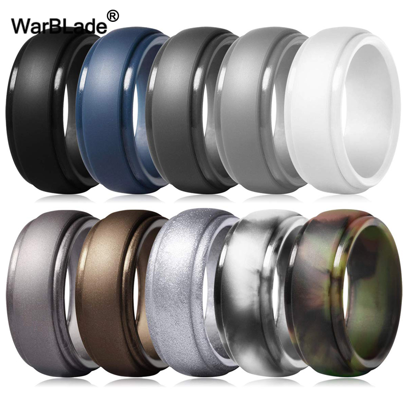 WarBLade New Food Grade FDA Silicone Rings Men Wedding Rubber Bands Hypoallergenic Flexible Antibacterial Silicone Finger Ring