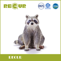Recur Toys Simulated Raccoon Model Hand Painted PVC Wild Animal Action Figures Soft Toy Collection Gift
