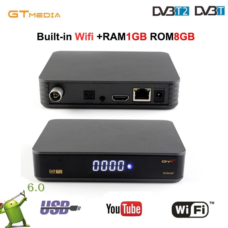 Gtmedia Satellite Receiver GTT Android 6.0 TV BOX+DVB-T/T2/Cable Amlogic S905D Quad Core 1GB RAM 8GB ROM HD built wifi youtube d202 android dvb t2 tv receiver