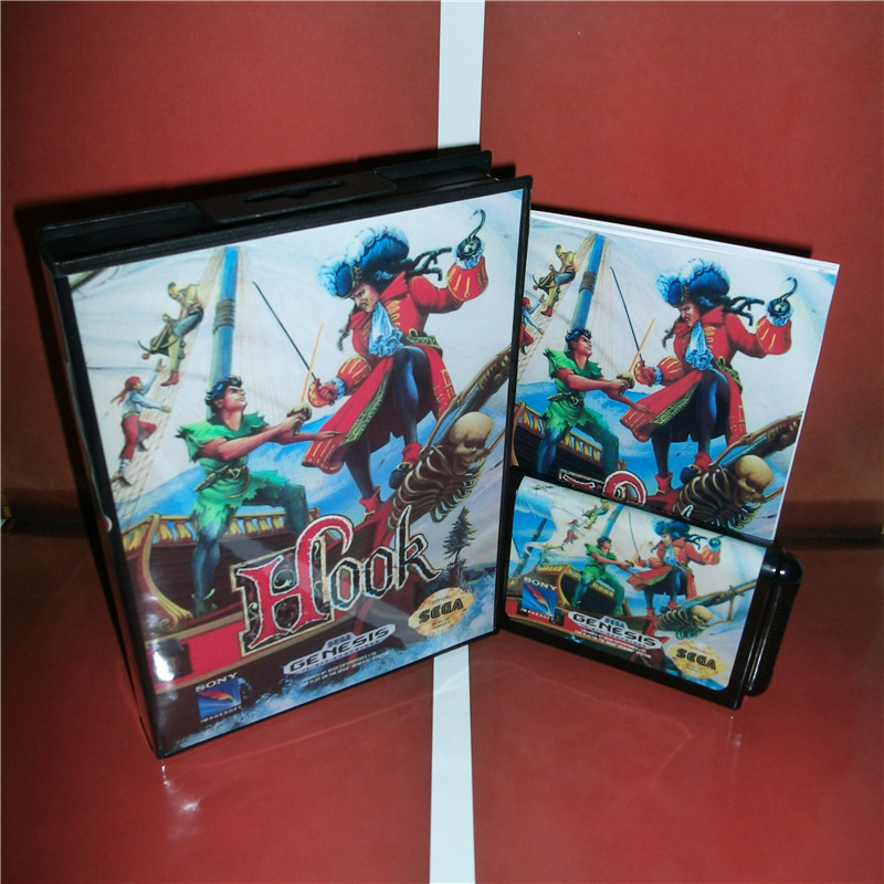 Hook US Cover with box and manual For Sega Megadrive Genesis Video Game Console 16 bit MD card