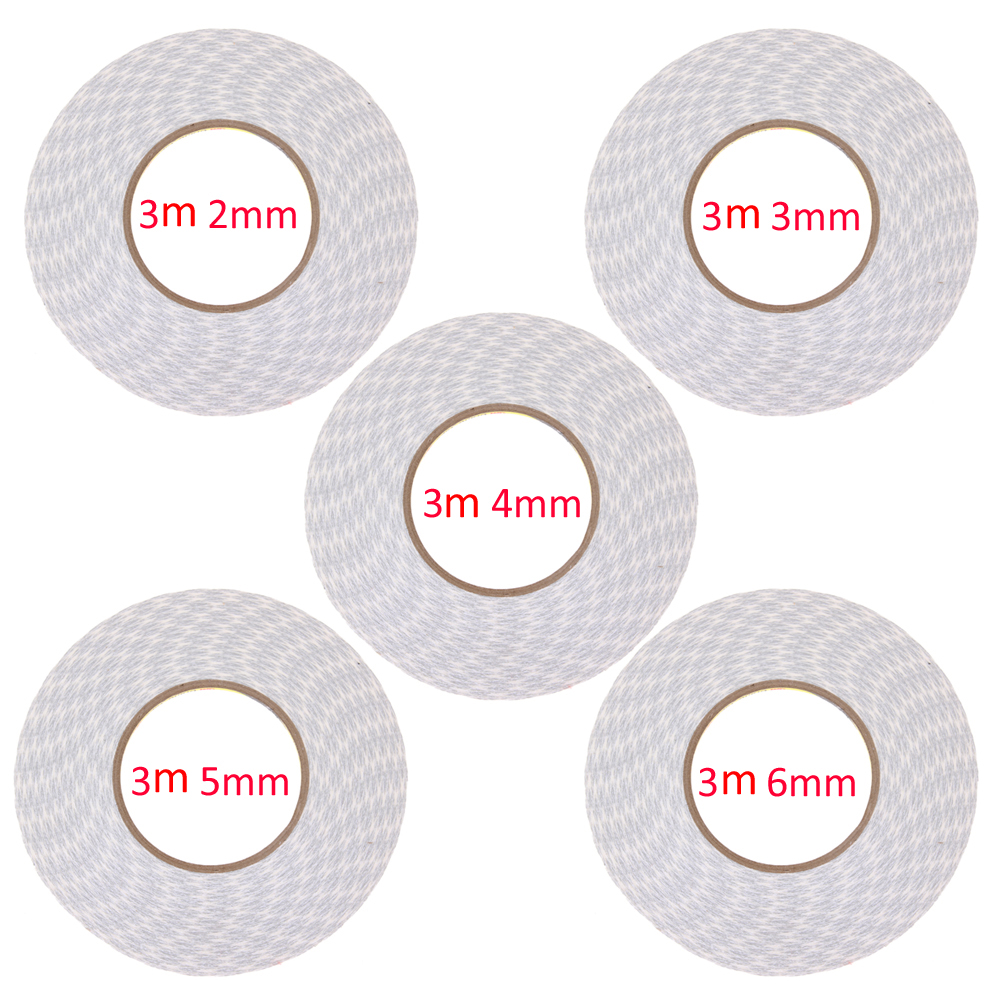 1Roll High Quality 3M 2mm/3mm/4mm/5mm/6mm White Double Sided Tape Sticky for Mobile Phone 3pcs lot brand new japan premium 6mm 8m mini double sided tape high quality tape suitable for cards notebook wrapping crafework
