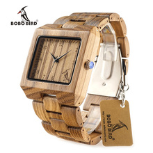 BOBO BIRD L26 Square Zebra Wood Bamboo Men's Top Quartz Casual Brand Watch relogio masculino With Leather Strap For Gift