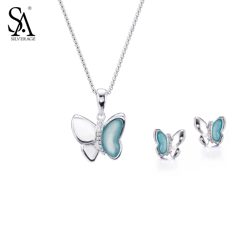 SA SILVERAGE Sterling Silver 925 Jewelry Sets Necklace And Earrings Set For Women Pure Silver Jewelry 2018 Best Gift new high quality 42mm pvc pipe plumbing tube plastic hose cutter pliers tool ratcheting type