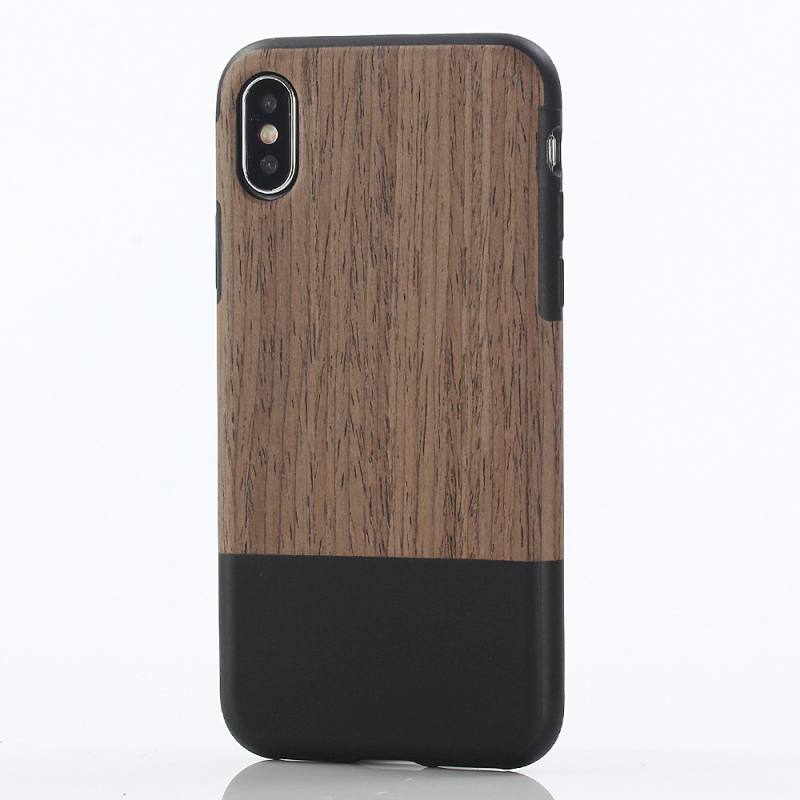 iPhone X 10 Stitching Wood grain PU leather + TPU XH_1