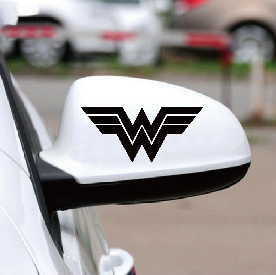 2 pcs wonder woman sign vinyl car sticker superhero cool car decal for car rearview mirror decoration ca1033