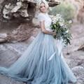 Duas Peças Vestido de Noite Top de Renda Formal Vestidos de Festa De Casamento Barato vestido 2016 Custom Made Longo de Tule vestido de Baile Vestido De Festa