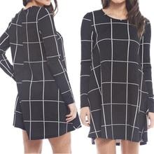 Womens Black White font b Tartan b font Check Print Short Dress Ladies Casual Long Sleeve