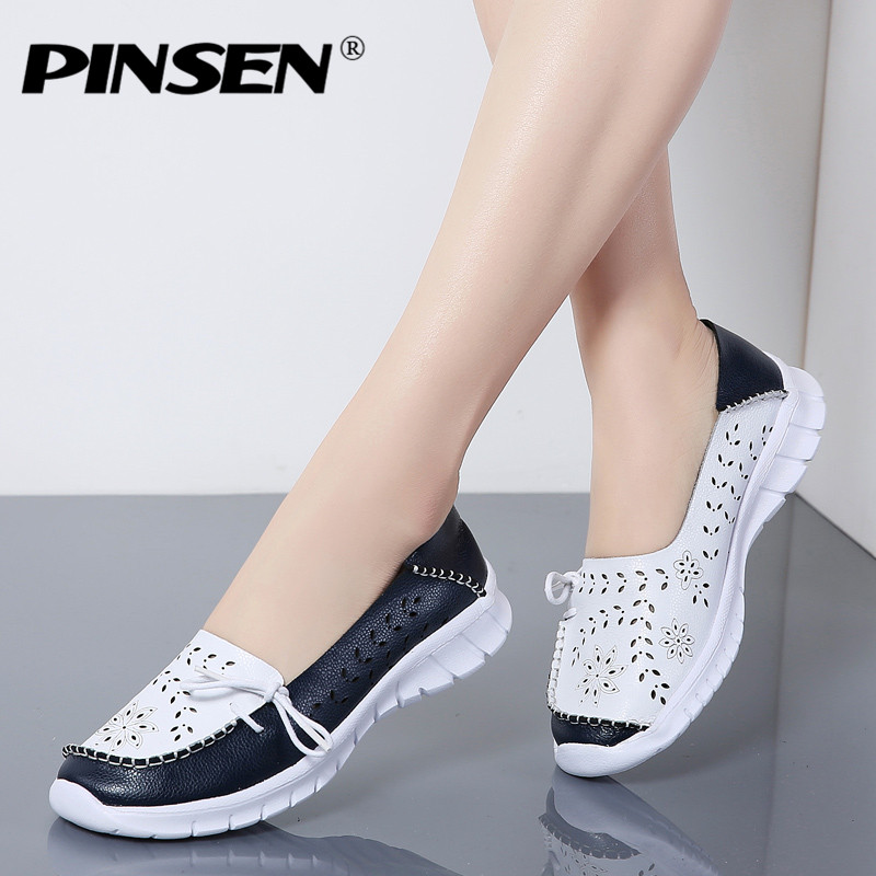 PINSEN 2019 New Fashion Women Flats Shoes Genuine Leather Summer Shoes Woman Slip-on Ballerina Flats Mother Boat Shoes moccasins