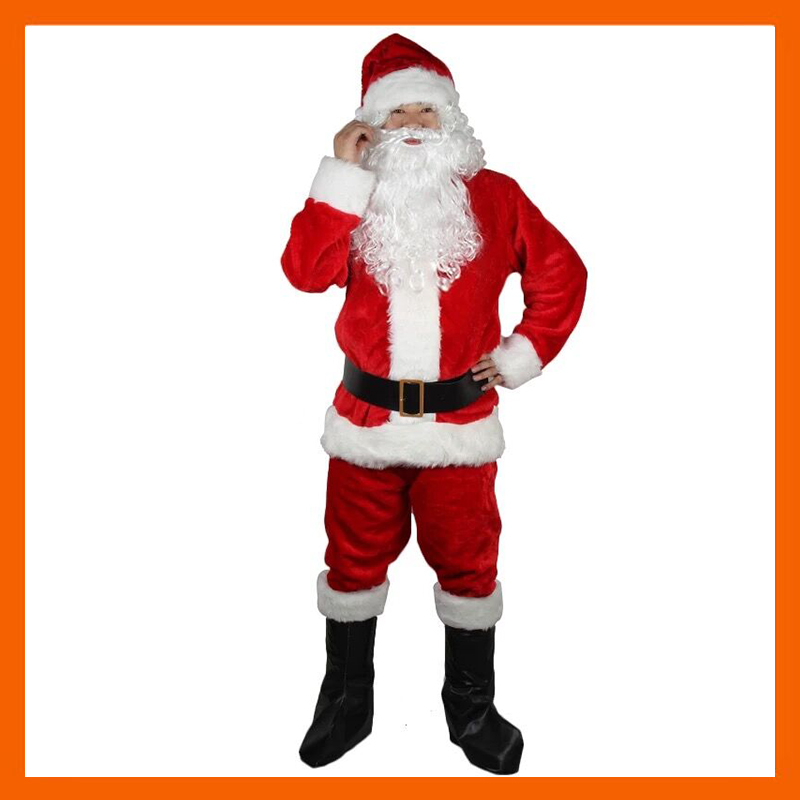 A FULL SET OF CHRISTMAS COSTUMES SANTA CLAUS FOR ADULTS RED CHRISTMAS CHRISTMAS DAY COST CLOTHES SANTA CLAUS COSTUME LUXURY SUIT