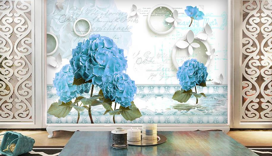 European style Wallpaper Customize Wall Mural wallpaper For Living Room Hand-painted flowers room Background Decorative painting