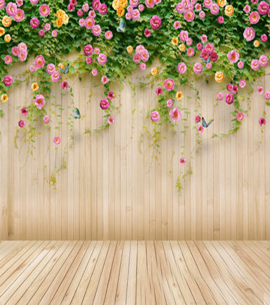 Wooden Wall Floor Flower Children Wedding Photography Background Photo Studio Props Baby Computer Painted  5x7ft Vinyl Backdrops 200 300cm wedding background photography custom vinyl backdrops for studio digital printed wedding photo props