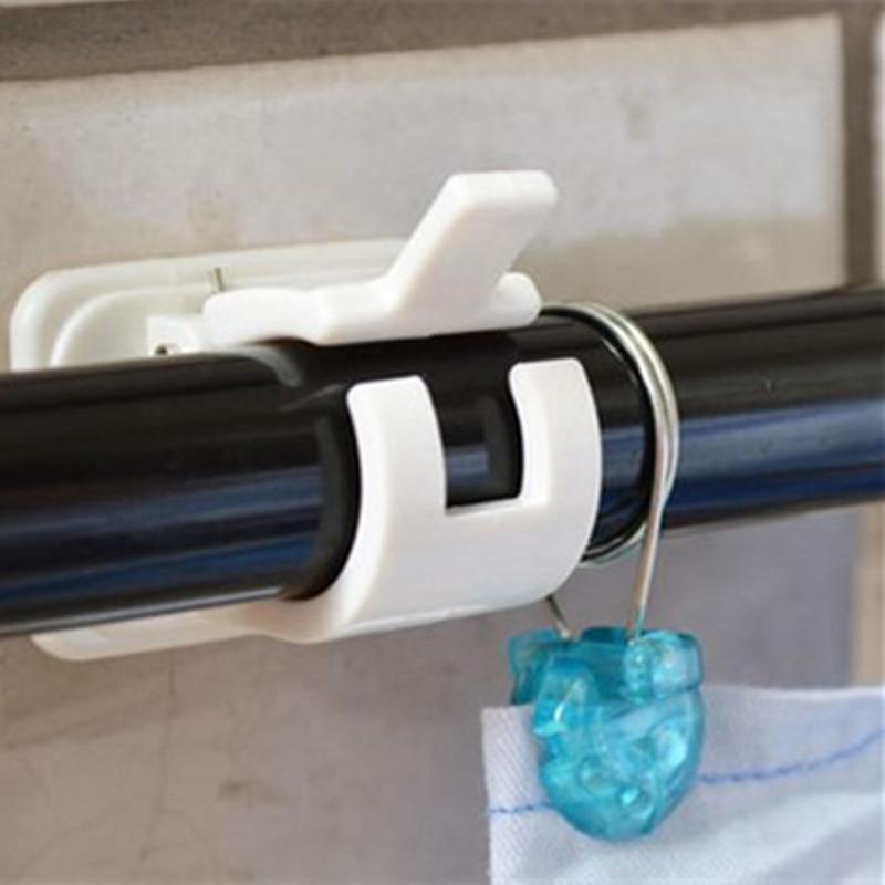 1set Adhesive Shower Curtain Rods Towel Bar Hooks Clamps Curtains Organized Storage Rack Railing Holder