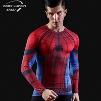 2016New Sport Wear Fitness Compression Shirt Men Superman Captain America Batman Spiderman Iron Man Sport Tshirt
