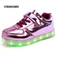 Strongshen novo carregamento usb shoes para crianças meninos meninas levaram luminous shoes lace-up casual flat shoes led crianças sapatilhas 3 cor