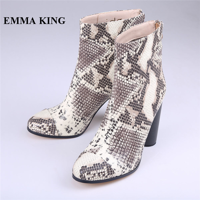 EMMA KING Fashion Spring Snake Print Round Toe Ankle Boots Sexy Python Pattern Round Heels Night Club Party Short Boots Women цена 2017